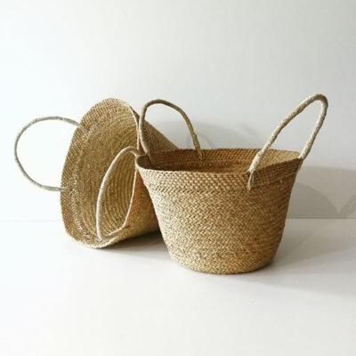 HANDMADE STRAW STORAGE BASKET WITH HANDLES