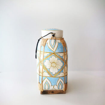 hand painted basket with lid