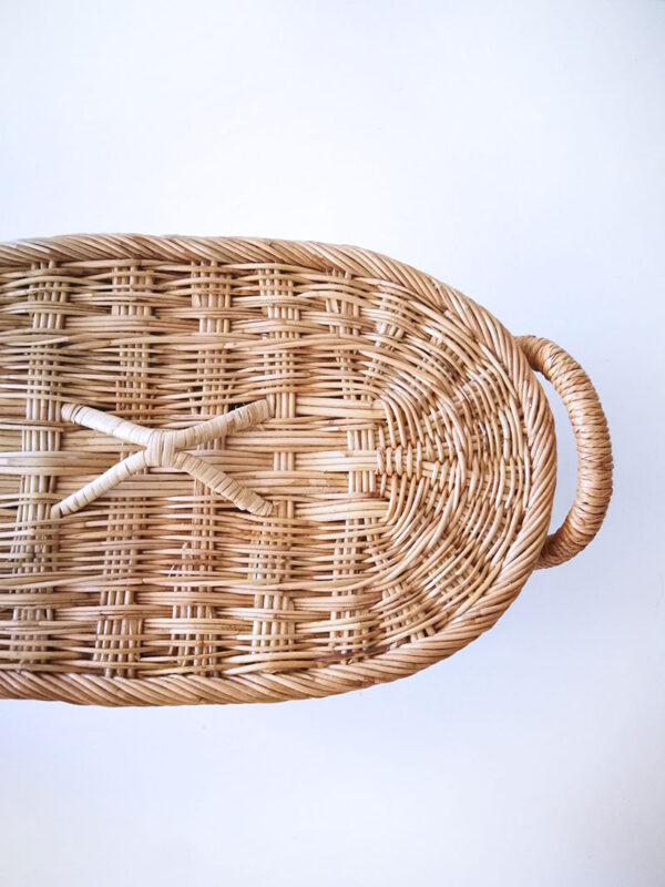 oval basket with lid and handles